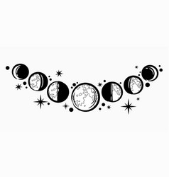 Moon phases from full moon to crescent vector