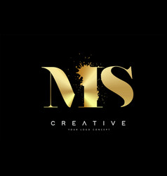 ms m s letter logo with gold melted metal splash vector image