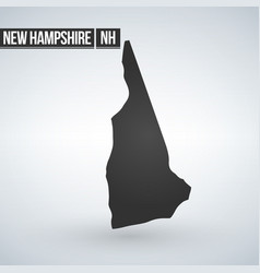 new hampshire black map on white background vector image