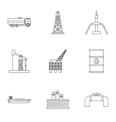 Oil production icons set outline style vector