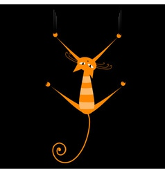 orange striped cat vector image