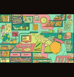pattern boy study on desk vector image