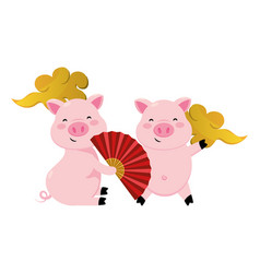 pig with chinese fan vector image