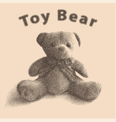 plush toy teddy bear in old style of dots vector image