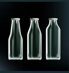 realistic transparent clear empty milk bottles vector image
