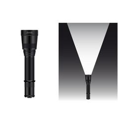 Realistic waterproof flashlight vector