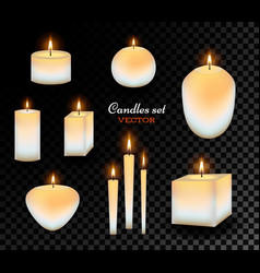 realistic wax candles set vector image