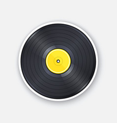 retro vinyl lp record with yellow label vector image