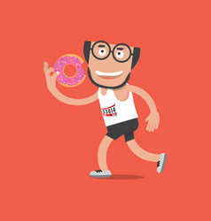 running man with donut in hand health concept vector image