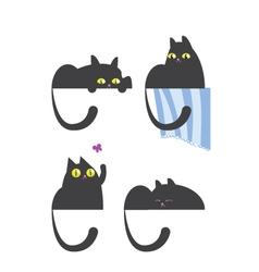 Russian blue cat in four different positions vector image