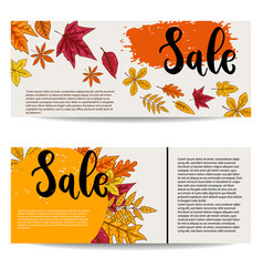 sale set of banner templates with autumn leaves vector image