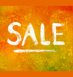 Sale word chalk lettering on autumn leaves vector