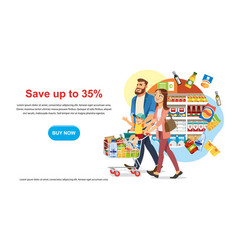 Save money discount in food shop web banner vector