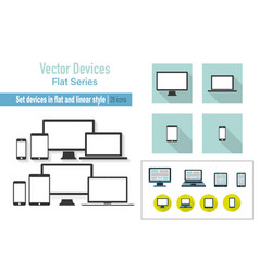 set device laptop monitor tablet and phone in vector image