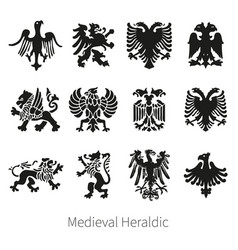 set heraldic medieval lion griffin and eag vector image