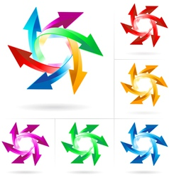 set of arrow circles vector image
