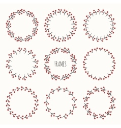 Set of hand drawn autumn frame of berries Wreath vector image