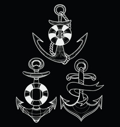 Set stylized ship anchors linear art vector