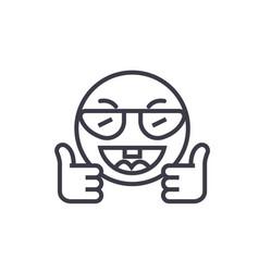 showing ok emoji concept line editable vector image