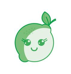 Silhouette kawaii nice happy lemon icon vector