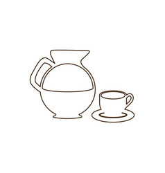 Sketch contour set glass jar of coffee with dish vector