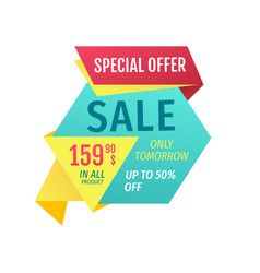 Special offer and sale in all products promotion vector