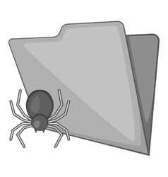 Spider virus in folder icon gray monochrome style vector