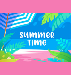 summer time vibrant banner with palm tree leaves vector image