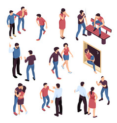 Teenagers problems isometric set vector