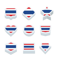 Thailand flags icons and button set nine styles vector