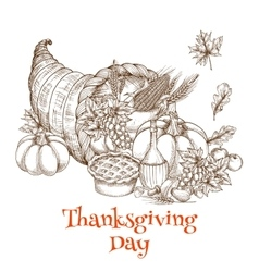 Thanksgiving Day cornucopia greeting sketch vector