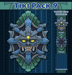 tiki pack 9 vector image