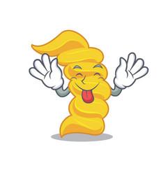 Tongue out fusilli pasta mascot cartoon vector