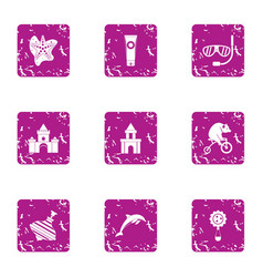 tourist contract icons set grunge style vector image