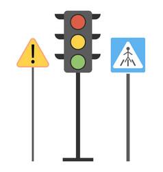 traffic laws signs zebra-crossing traffic light vector image