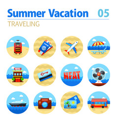 traveling icon set summer vacation vector image