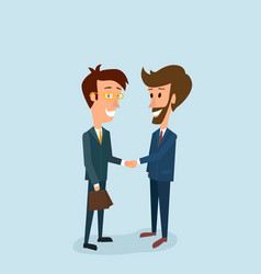 Two businessmen shake hands partnership vector