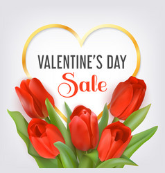 valentines day sale card with tulips vector image
