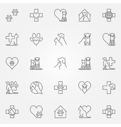 Veterinary icons or logo elements vector image