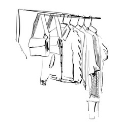 Wardrobe sketch clothes on hangers coat and vector