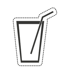 water glass with straw drawing vector image