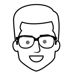 young man head with glasses avatar character vector image