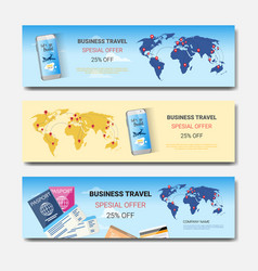 business travel special offer set of template vector image vector image
