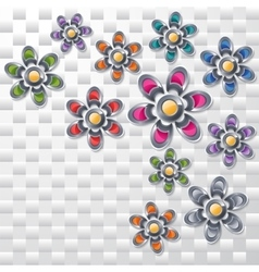 Collection of the colorful flowers vector image