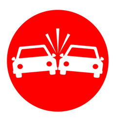 crashed cars sign white icon in red vector image
