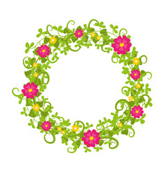 Floral circle isolated with grass swirls and red vector