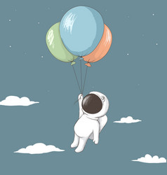 little astronaut keeps to balloons vector image vector image