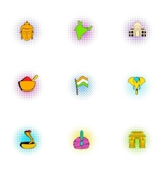 Stay in India icons set pop-art style vector image vector image