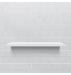 White realistic shelf against brick wall vector image