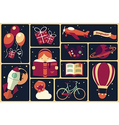 Background with imagination items vector image vector image